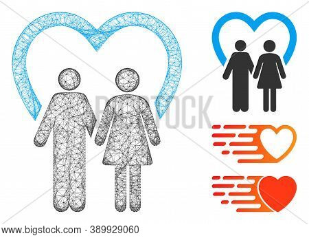 Mesh Marriage Polygonal Web Icon Vector Illustration. Carcass Model Is Based On Marriage Flat Icon.