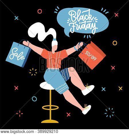 Trendy Cartoon Woman Carry Shopping Bags Enjoy Big Sale Isolated On Balck. Colorful Female Shopaholi