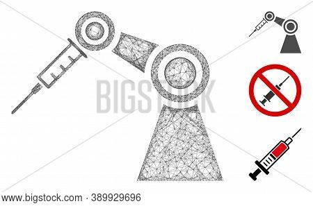 Mesh Medical Inject Robot Polygonal Web Icon Vector Illustration. Carcass Model Is Based On Medical