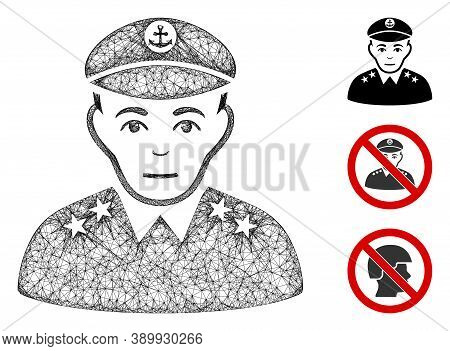 Mesh Military Captain Polygonal Web Icon Vector Illustration. Carcass Model Is Based On Military Cap