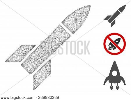 Mesh Missile Polygonal Web Icon Vector Illustration. Model Is Based On Missile Flat Icon. Triangular