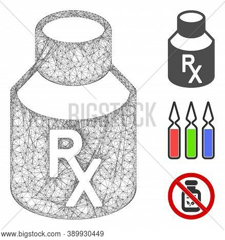 Mesh Mixture Bottle Polygonal Web Icon Vector Illustration. Model Is Created From Mixture Bottle Fla