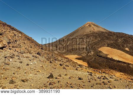 Landscape From Tenerife Canary Islands, View To The Volcano Pico Del Teide, Deserts And Semi-deserts