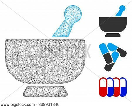 Mesh Mortar Polygonal Web Icon Vector Illustration. Carcass Model Is Based On Mortar Flat Icon. Tria