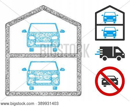 Mesh Multi-storey Car Park Polygonal Web Symbol Vector Illustration. Model Is Based On Multi-storey
