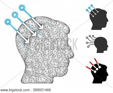 Mesh Neural Interface Connectors Polygonal Web Icon Vector Illustration. Carcass Model Is Based On N