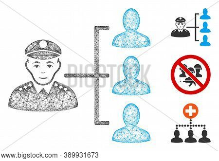 Mesh Officer Subordinates Polygonal Web Icon Vector Illustration. Carcass Model Is Created From Offi