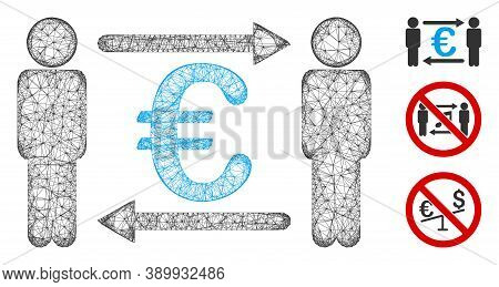 Mesh Persons Exchange Euro Polygonal Web Icon Vector Illustration. Carcass Model Is Based On Persons