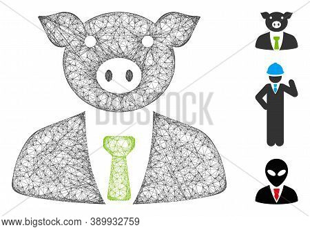 Mesh Pig Boss Polygonal Web 2d Vector Illustration. Model Is Based On Pig Boss Flat Icon. Triangular