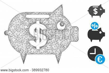 Mesh Piggy Bank Polygonal Web Icon Vector Illustration. Model Is Based On Piggy Bank Flat Icon. Tria