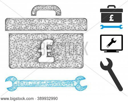 Mesh Pound Toolbox Polygonal Web Icon Vector Illustration. Carcass Model Is Created From Pound Toolb