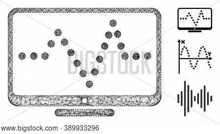Mesh Pulse Chart Polygonal Web 2d Vector Illustration. Carcass Model Is Based On Pulse Chart Flat Ic