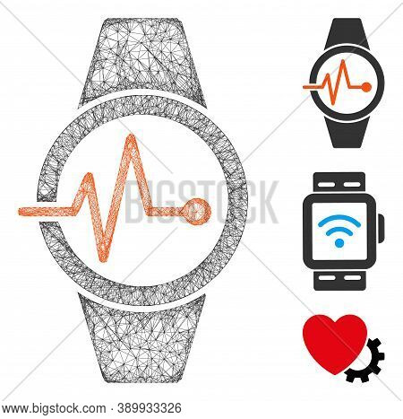 Mesh Pulse Watches Polygonal Web Icon Vector Illustration. Carcass Model Is Based On Pulse Watches F