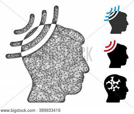 Mesh Radio Reception Head Polygonal Web Symbol Vector Illustration. Model Is Based On Radio Receptio