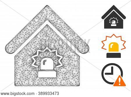 Mesh Realty Alarm Polygonal Web Icon Vector Illustration. Carcass Model Is Based On Realty Alarm Fla