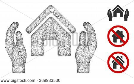 Mesh Realty Insurance Hands Polygonal Web Icon Vector Illustration. Model Is Based On Realty Insuran