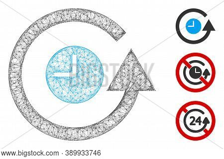 Mesh Restore Clock Polygonal Web Icon Vector Illustration. Carcass Model Is Created From Restore Clo