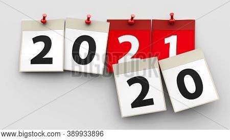 Calendar Sheets With Red Pin And Numbers 2021 On Grey Background Represent Start New Year 2021, Thre