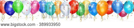 Banner Of Colorful Balloons, Ribbons And Shiny Pieces Of Serpentine On White Background With Horizon