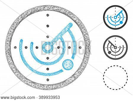 Mesh Round Radar Polygonal Web Icon Vector Illustration. Carcass Model Is Created From Round Radar F