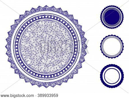 Mesh Round Rosette Seal Polygonal Web 2d Vector Illustration. Model Is Based On Round Rosette Seal F