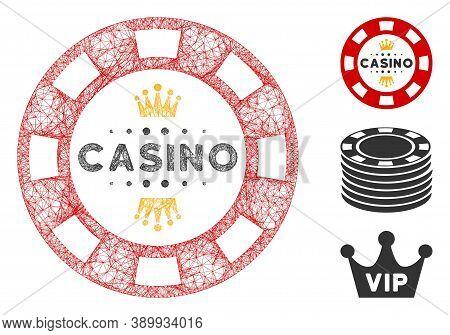 Mesh Royal Casino Chip Polygonal Web 2d Vector Illustration. Model Is Based On Royal Casino Chip Fla