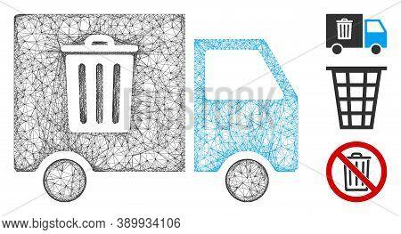 Mesh Rubbish Transport Van Polygonal Web Icon Vector Illustration. Carcass Model Is Based On Rubbish