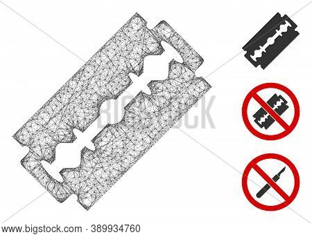 Mesh Shaving Razor Blade Polygonal Web Icon Vector Illustration. Carcass Model Is Based On Shaving R