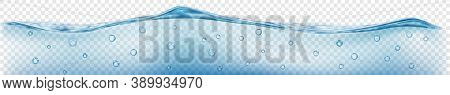 Horizontal Banner With Translucent Water Wave In Gray And Light Blue Colors With Air Bubbles, Isolat
