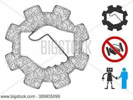 Mesh Smart Contract Handshake Polygonal Web Icon Vector Illustration. Model Is Based On Smart Contra
