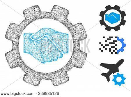 Mesh Smart Contract Setup Gear Polygonal Web Icon Vector Illustration. Carcass Model Is Based On Sma
