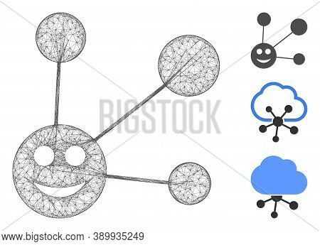 Mesh Smile Connections Polygonal Web Icon Vector Illustration. Carcass Model Is Based On Smile Conne