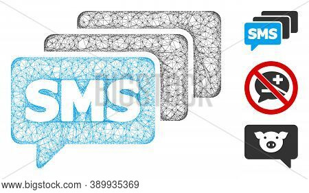 Mesh Sms Queue Polygonal Web Icon Vector Illustration. Carcass Model Is Based On Sms Queue Flat Icon