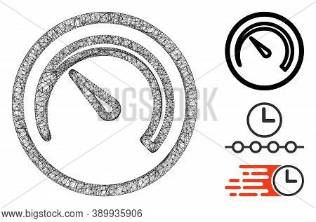 Mesh Speedometer Polygonal Web Icon Vector Illustration. Abstraction Is Based On Speedometer Flat Ic
