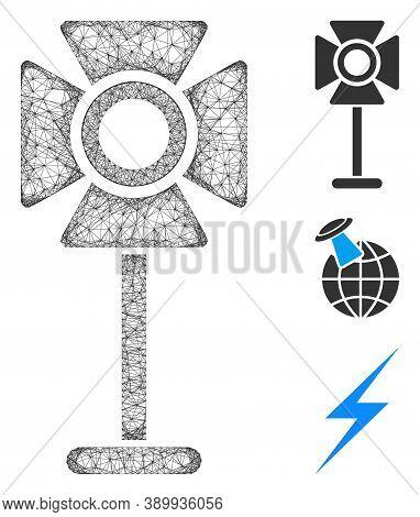 Mesh Spotlight Rack Polygonal Web Icon Vector Illustration. Model Is Based On Spotlight Rack Flat Ic