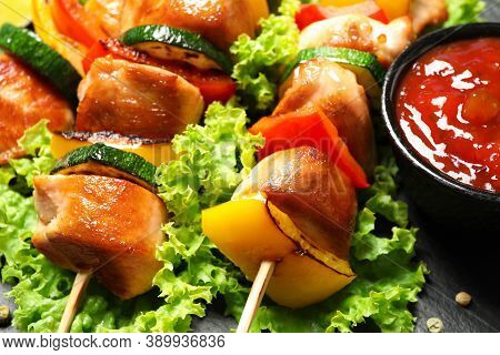 Delicious Chicken Shish Kebabs With Vegetables On Slate Plate, Closeup
