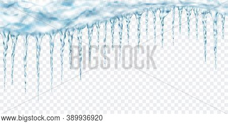 Group Of Translucent Light Blue Realistic Icicles Of Different Lengths Connected At The Top. For Use