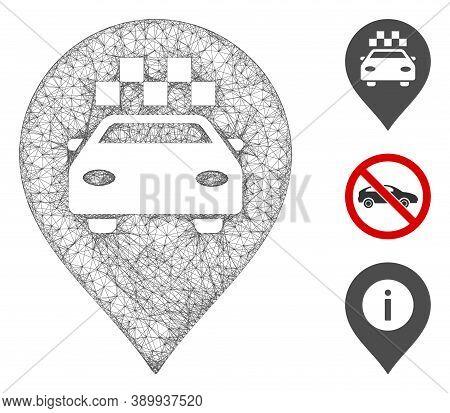 Mesh Taxi Car Marker Polygonal Web Symbol Vector Illustration. Model Is Based On Taxi Car Marker Fla