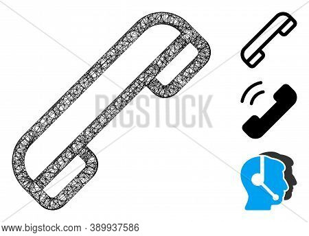 Mesh Telephone Polygonal Web 2d Vector Illustration. Carcass Model Is Based On Telephone Flat Icon.