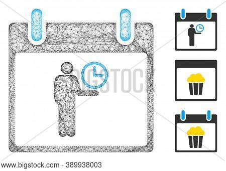 Mesh Time Manager Calendar Day Polygonal Web Icon Vector Illustration. Carcass Model Is Based On Tim