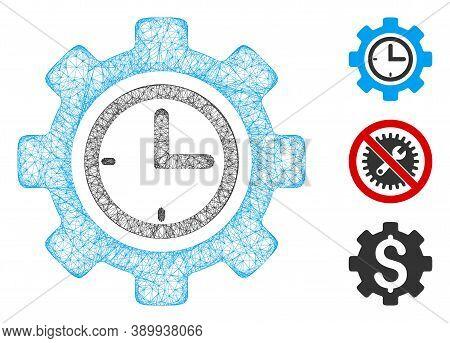Mesh Time Setup Gear Polygonal Web Icon Vector Illustration. Model Is Based On Time Setup Gear Flat