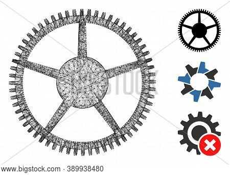 Mesh Tooth Main Wheel Polygonal Web 2d Vector Illustration. Carcass Model Is Based On Tooth Main Whe