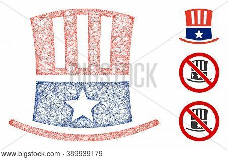 Mesh Uncle Sam Hat Polygonal Web Icon Vector Illustration. Abstraction Is Based On Uncle Sam Hat Fla
