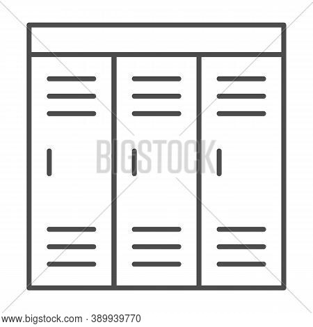 Gym Wardrobes Thin Line Icon, Gym Concept, Lockers Sign On White Background, Sport Dressing Room Ico