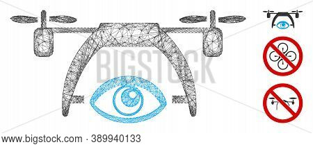 Mesh Video Spy Drone Polygonal Web Icon Vector Illustration. Carcass Model Is Based On Video Spy Dro