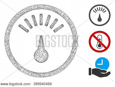 Mesh Weight Gauge Polygonal Web Icon Vector Illustration. Carcass Model Is Based On Weight Gauge Fla