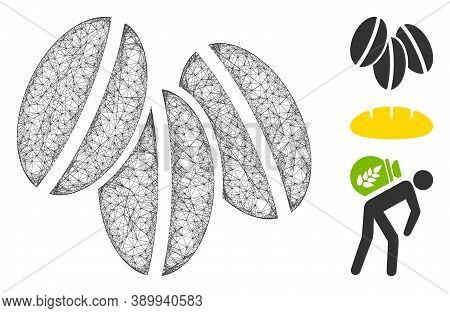 Mesh Wheat Seeds Polygonal Web Icon Vector Illustration. Abstraction Is Based On Wheat Seeds Flat Ic
