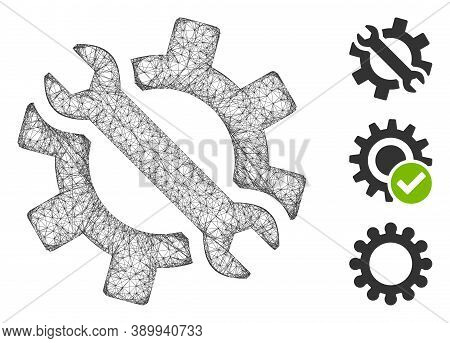 Mesh Wrench And Gear Tools Polygonal Web Icon Vector Illustration. Model Is Based On Wrench And Gear
