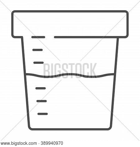 Urine Sample For Analysis Thin Line Icon, Medical Tests Concept, Sampling Container Sign On White Ba