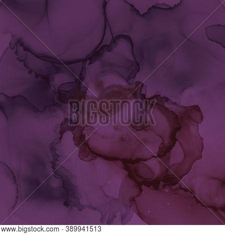 Burgundy Wine Background. Watercolour Winery Pattern. Modern Gradient Splash. Purple Ink Design. Bur